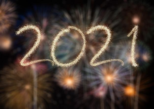 2021 새해 불꽃 놀이, 해피 홀리데이 및 새해 개념