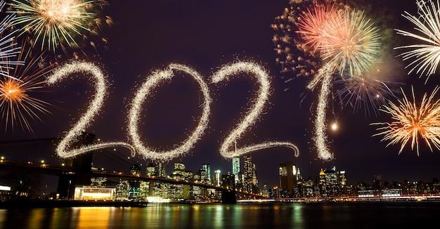 Новогодний фейерверк 2021 года над нью-йорком