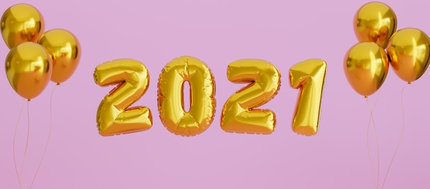 2021 new year golden balloon in pink background for facebook cover