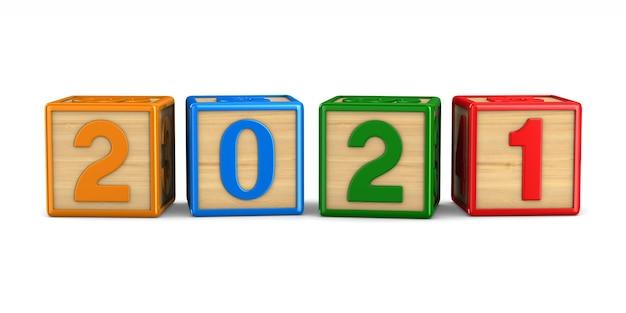 2021年の新年。分離された3dレンダリング