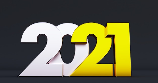 2021 new year isolated on black background. shiny gold sign, 3d render