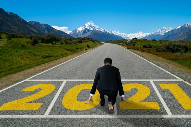 The 2021 new year journey and future vision concept .