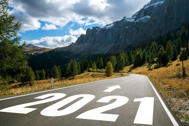 2021 새해 여행 여행 및 미래 비전 개념