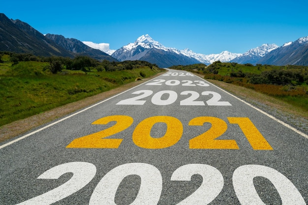 2021 new year road trip travel and future vision concept .