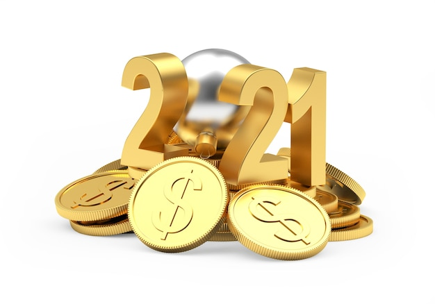 2021 numbers with christmas ball on heap of coins