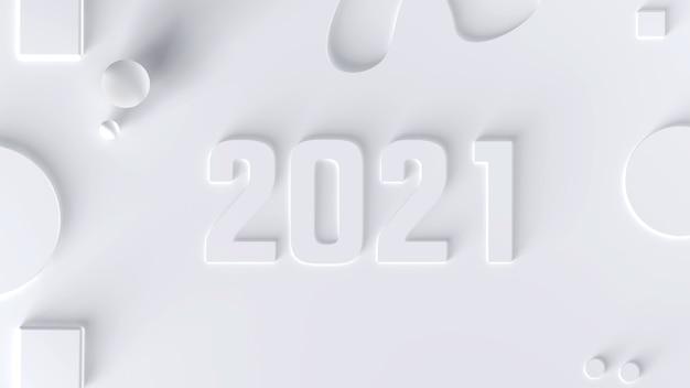 2021 год на белом фоне среди геометрических фигур