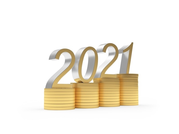 2021 год на стопках монет на белом