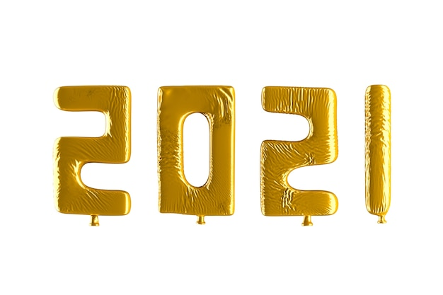 2021 shaped golden balloons isolate