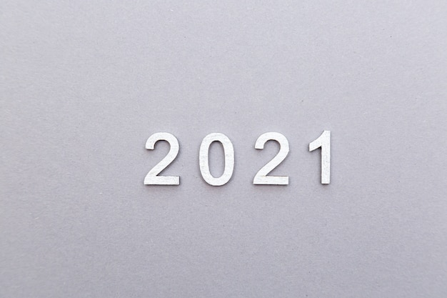2021 silver numbers on a grey background  new year and christmas concept