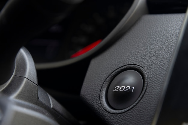2021 start button on dashboard, new year concept.