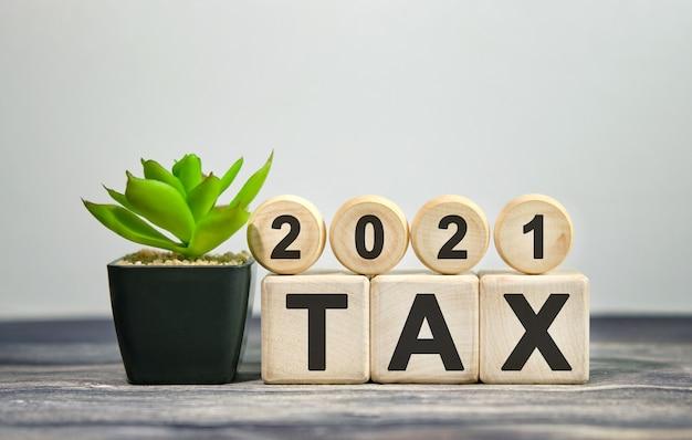 Налог 2021 - финансовая концепция. деревянные кубики и цветок в горшке.