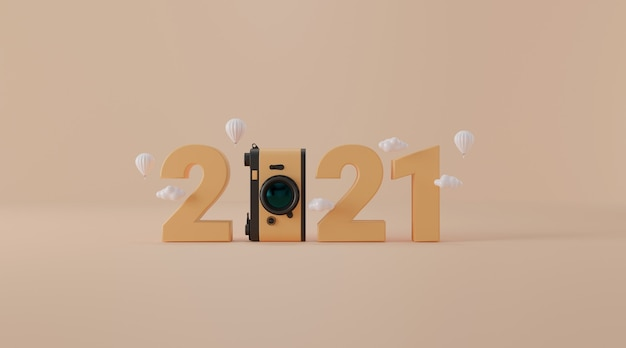 2021 with vintage camera in 3d rendering