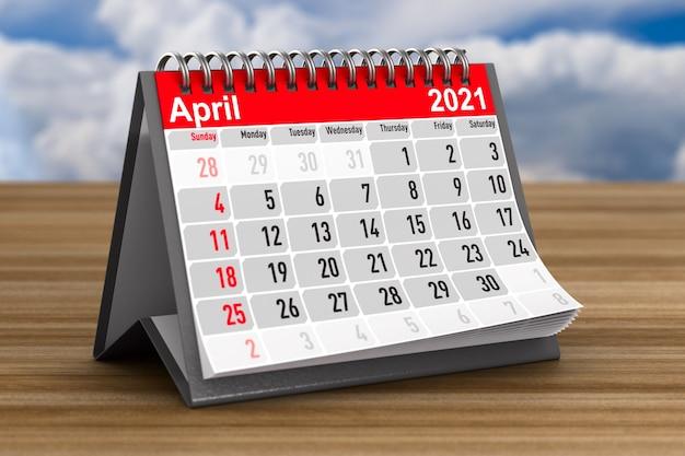 2021 год. календарь на апрель. 3d иллюстрации