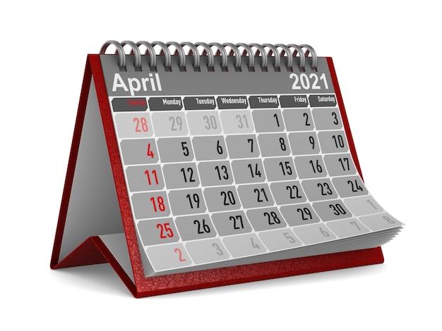 2021 년. 4 월 달력.