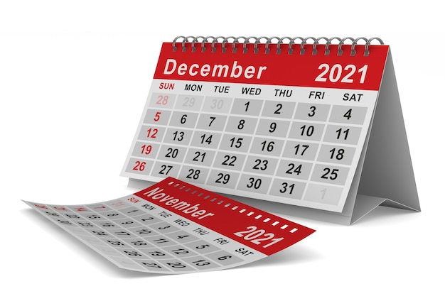 2021 년. 12 월 달력. 격리 된 3d 그림
