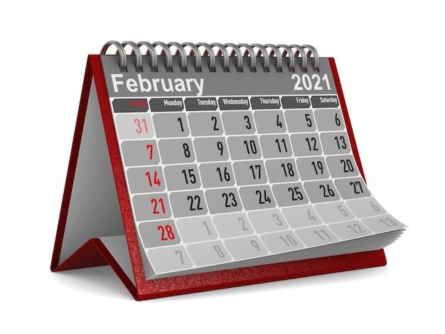 2021 년. 2 월 달력.