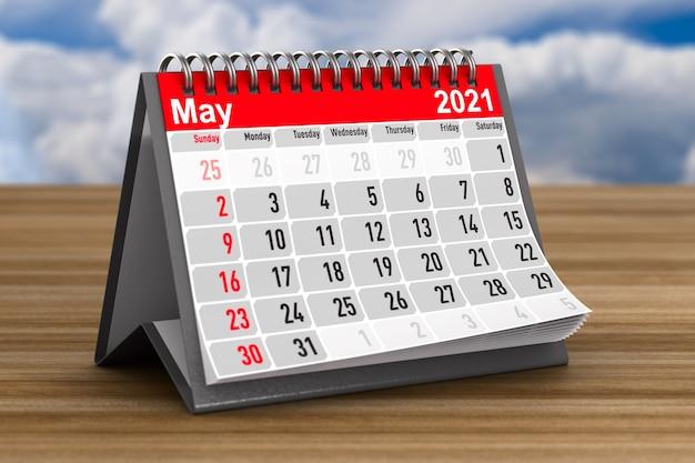 2021 год. календарь на май. 3d иллюстрации