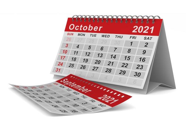 2021 년. 10 월 달력. 격리 된 3d 그림