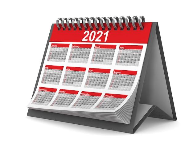 Календарь на 2021 год. изолированный 3d-рендеринг