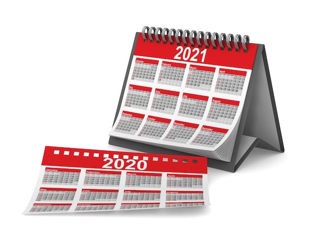 2021年のカレンダー。分離された3dレンダリング