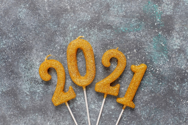 2021 year made of candles.new year celebration concept.