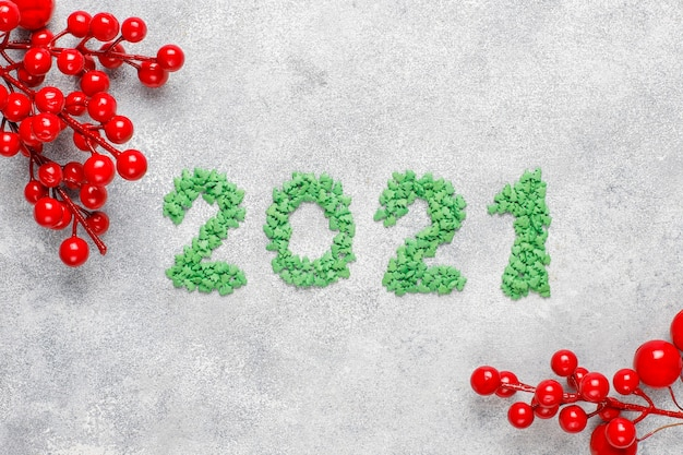 2021 year made of green sweetes. new year celebration concept.
