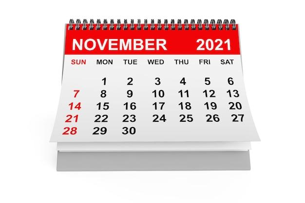 白い背景の2021年11月のカレンダー。 3dレンダリング