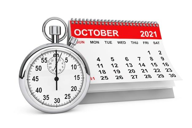 白い背景の上のストップウォッチと2021年10月のカレンダー。 3dレンダリング