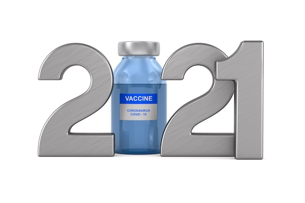 2021 year. vaccine from covid-19 on white.