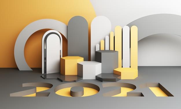 2021 노란색과 회색 기하학적 모양 3d 렌더링