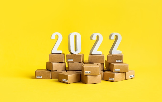 2022 business ecommerce or export  import concepts with text number