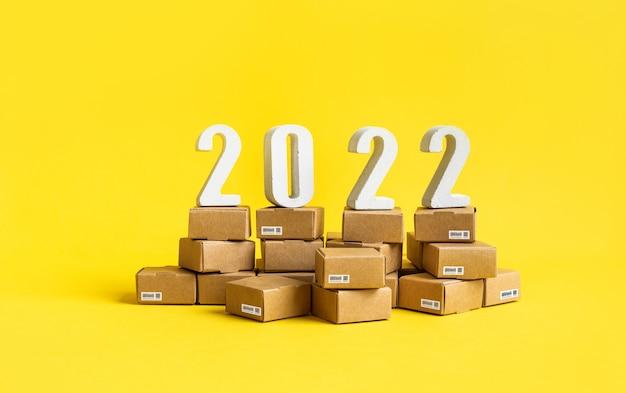 2022 비즈니스 전자 상거래 또는 텍스트 번호가 있는 내보내기 가져오기 개념