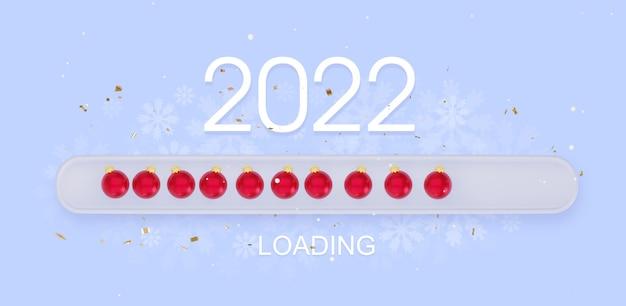 2022 creative progress bar loading with christmas balls 3d rendering
