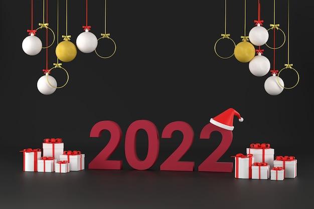 Шрифт 2022 санта-клаус шляпа подарочная коробка и новогодние шары новогодняя елка на рождество и новый год
