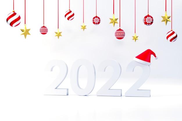 2022 шрифт санта-клаус шляпа подарочная коробка рождественский бал на рождество и новый год на белом фоне
