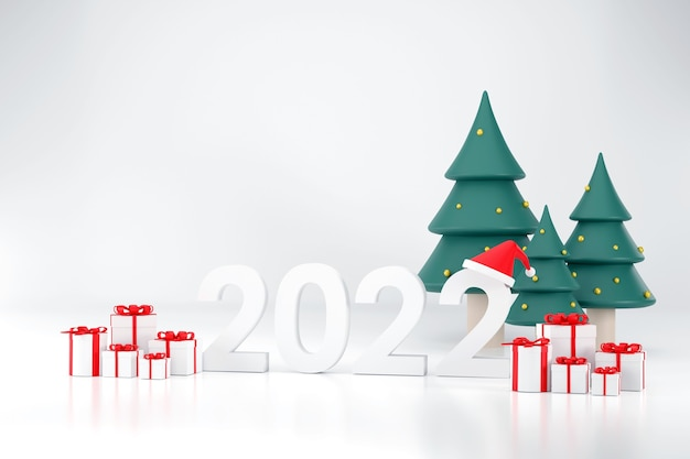 2022 шрифт санта-клаус шляпа подарочная коробка елка на рождество и новый год на белом фоне