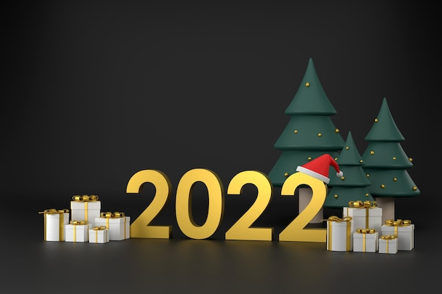 2022 font santa claus hat gift box christmas tree at christmas and new year on a black background