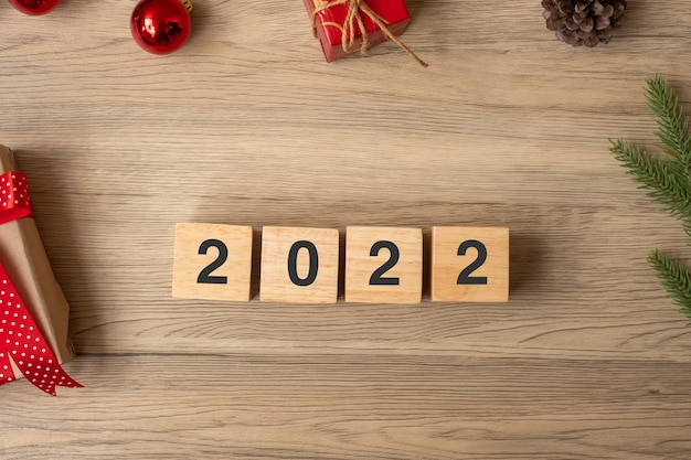 2022 happy new year with christmas decoration. new start, resolution, goals, plan, action and mission concept