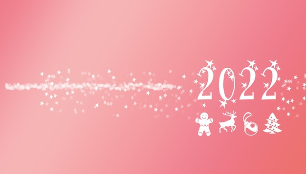 2022 message decoration typographical letters with stars and lights