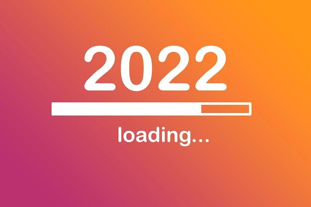 2022, 메시지, 시작, 로드 중. 새 해 개념입니다. 미래
