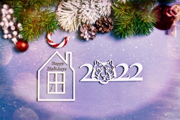 2022 новый год фон. сезонная упаковка и новогодняя атрибутика