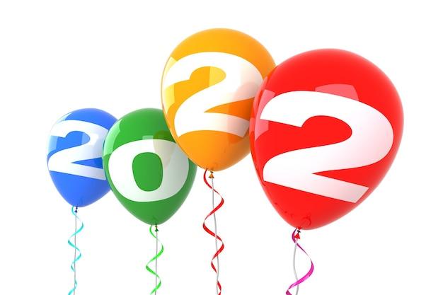 2022 новогодние шары. изолированные на белом фоне. 3d рендеринг