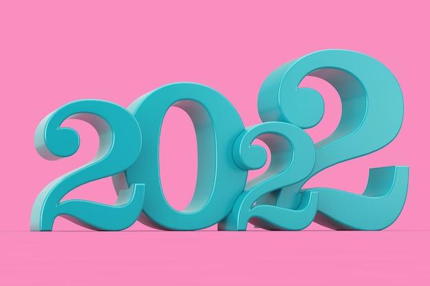 2022 новый год синий знак в двухцветном стиле на розовом фоне. 3d рендеринг