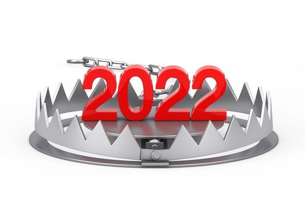 2022年新年は白い背景にメタルベアトラップにサインインします。 3dレンダリング
