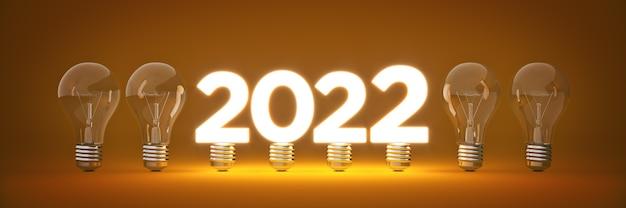 2022 новый год знак внутри лампочки 3d рендеринга
