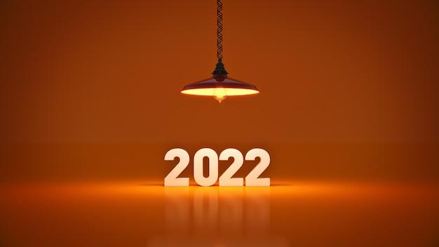 電球の3dレンダリング内の2022年の新年のサイン