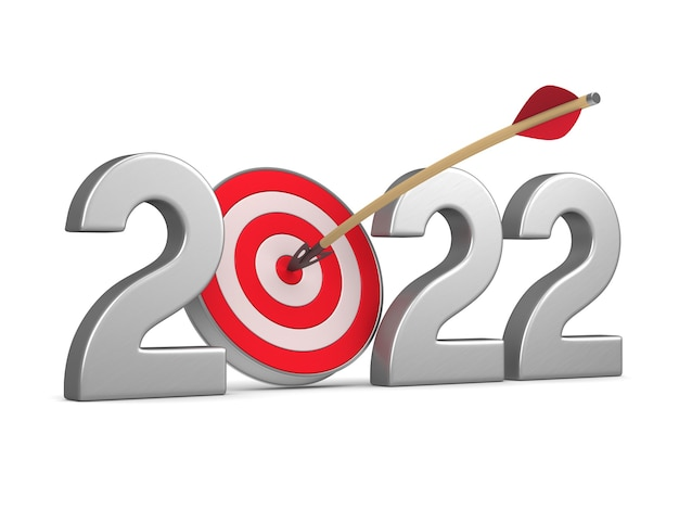 2022 new year on white background. isolated 3d illustration