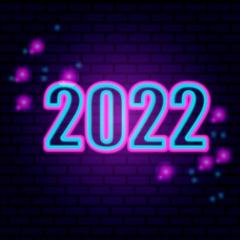 2022 숫자 아이콘입니다. 새해 복 많이 받으세요. 네온 스타일. 빛 장식 아이콘입니다. 밝은 전기 추세 기호
