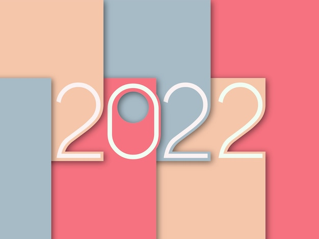 미니멀리즘 컬러 배경의 2022 페이퍼 컷 스타일