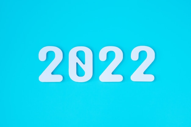 2022 white text number on blue background. resolution, plan, review, goal, start and new year holiday concepts